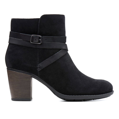 Clarks Women's Enfield Coco Ankle Boot Black Suede/Leather - Shop now @ Shoolu.com