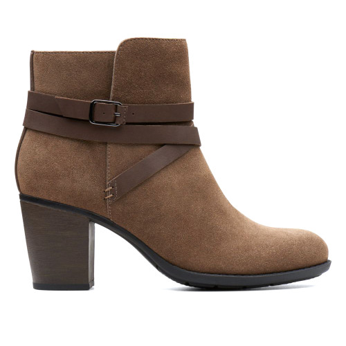 Clarks Women's Enfield Coco Ankle Boot Olive Suede/Leather - Shop now @ Shoolu.com