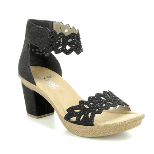 Rieker Women's Rabea 55 Heeled Sandal Black - Shop now @ Shoolu.com