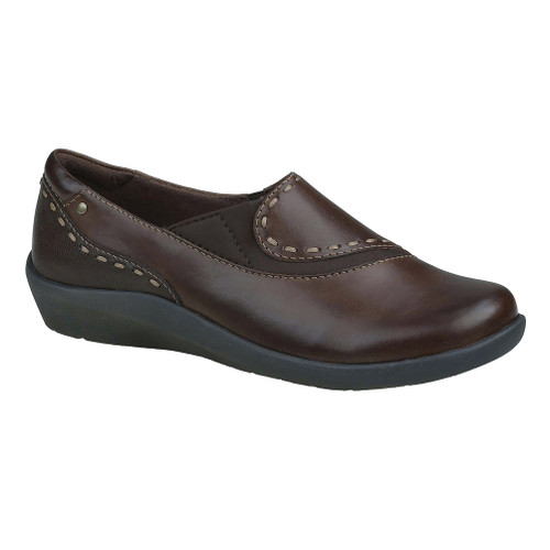Earth Origins Women's Leona Slip On Bat Brown Leather And Fabric - Shop now @ Shoolu.com