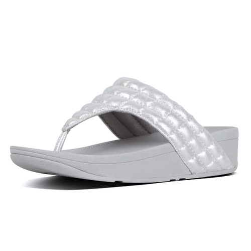 Fitflop Women's Lulu Padded Shimmysuede Thong Silver - Shop now @ Shoolu.com