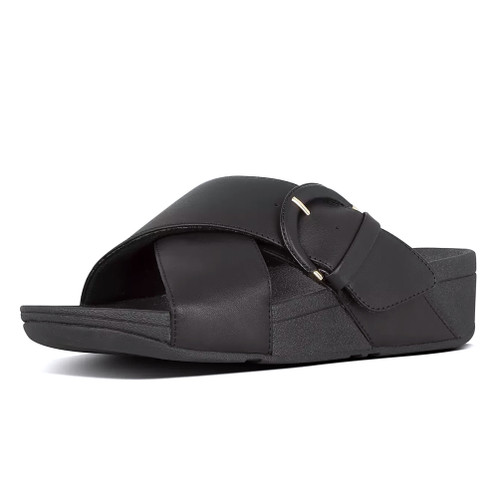 Fitflop Women's Lulu Buckle Leather Slide Black - Shop now @ Shoolu.com