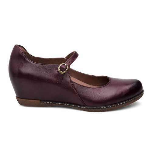 Dansko Women's Loralie Mary Jane Wedge Wine Burnished Calf - Shop now @ Shoolu.com