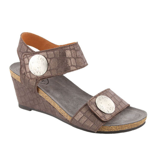 Taos Women's Carousel 2 Wedge Sandal Charcoal Croc Emboss - Shop now @ Shoolu.com