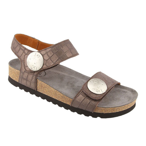 Taos Women's Luckie Sandal Charcoal Crocdile Emboss - Shop now @ Shoolu.com