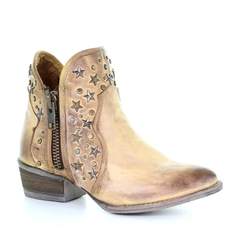 Circle G By Corral Women's LD Zipper & Studs Bootie Round Toe Brown - Shop now @ Shoolu.com