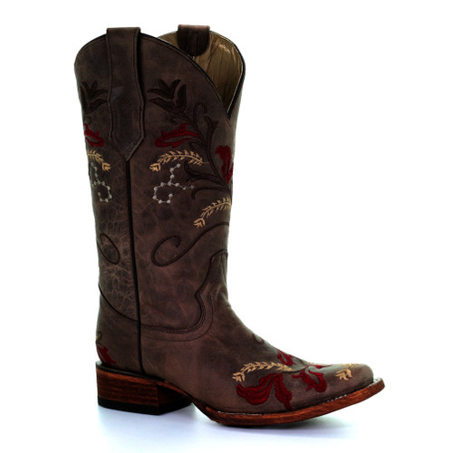 Circle G By Corral Women's LD Floral Embroidery Square Toe Boot Brown - Shop now @ Shoolu.com