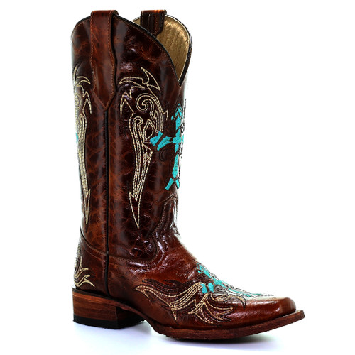 Circle G By Corral Women's LD Cross Embroidery Boot Honey/Turquoise - Shop now @ Shoolu.com