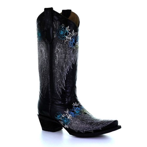 Circle G By Corral Women's LD Wings & Flowers Embroidery Boot Black - Shop now @ Shoolu.com