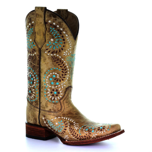 Circle G By Corral Women's LD Embroidery Square Toe Boot Gold - Shop now @ Shoolu.com