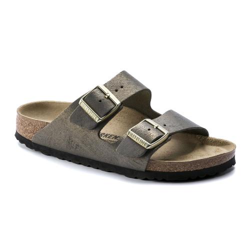 Birkenstock Women's Arizona Slide Sandal Washed Metallic Stone Gold - Shop now @ Shoolu.com
