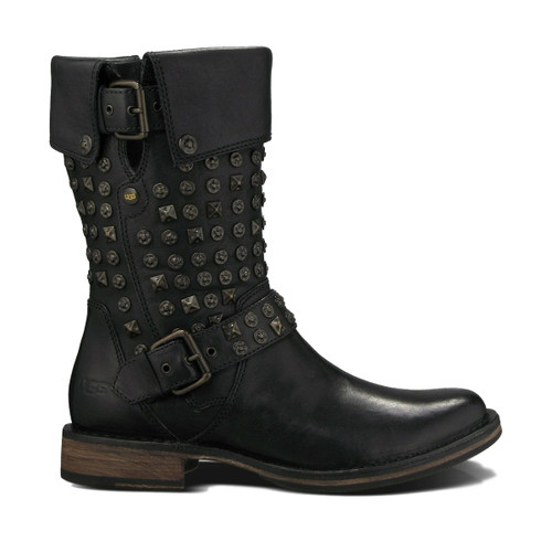 UGG Conor Studs Boot Black Leather Ladies - Shop now @ Shoolu.com