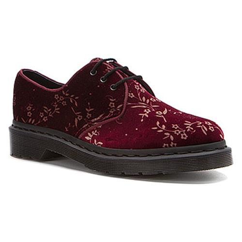 84d319a480838 Dr Martens Hugh Cherry Red Velvet Blossom Oxfords Ladies Casual Shoes -  Shop now @ Shoolu