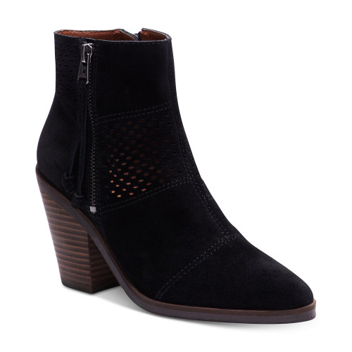 Lucky Brand Women's Ramses Ankle Boot Black Oiled Suede - Shop now @ Shoolu.com