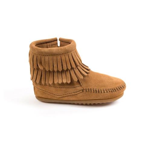 Minnetonka Girls Double Fringe Side Zip Boot Taupe - Shop now @ Shoolu.com
