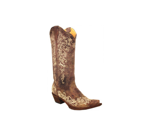 Corral Women's Western Embroidery Boots Brown Crater Bone Embroidery - Shop now @ Shoolu.com