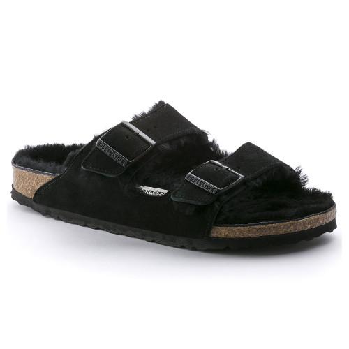 Birkenstock Unisex Arizona Fur Sandal Black Suede - Shop now @ Shoolu.com