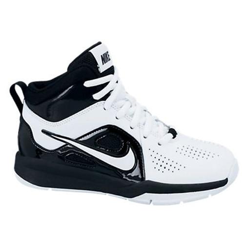 ed65bcae6dcc8 Nike Team Hustle D 6 White/Black Boys Basketball Shoes
