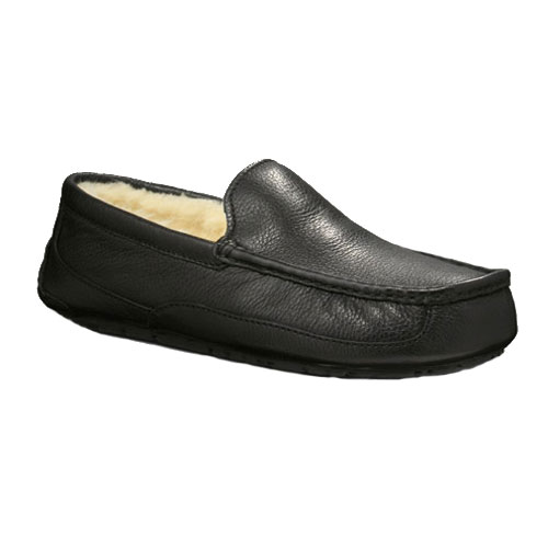21baca7735a UGG Ascot Slipper Black Leather Mens 5379 - Shop now   Shoolu.com