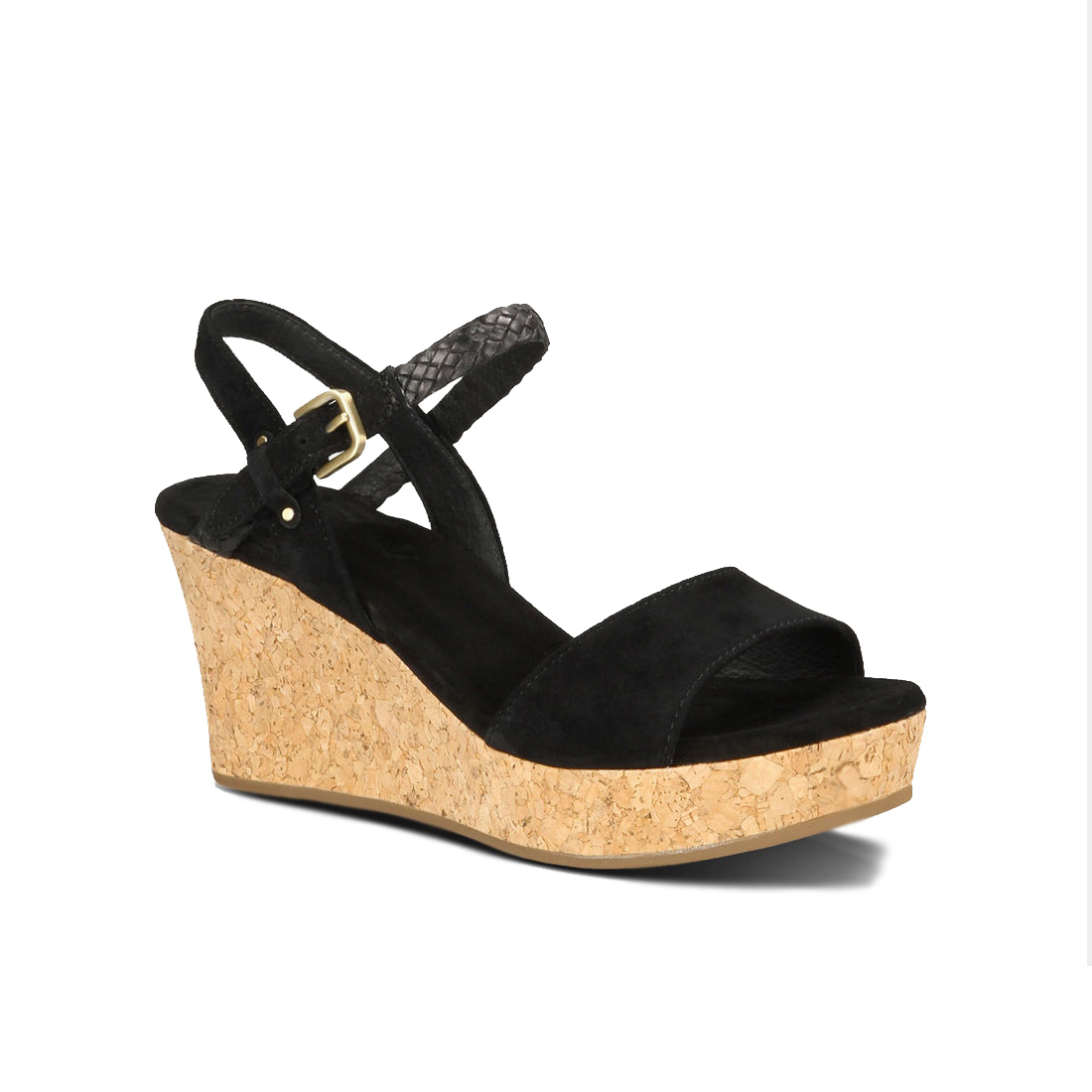 b53422d737be UGG Women s D Alessio Leather Braid Wedge Sandal Black Suede - Shop now    Shoolu