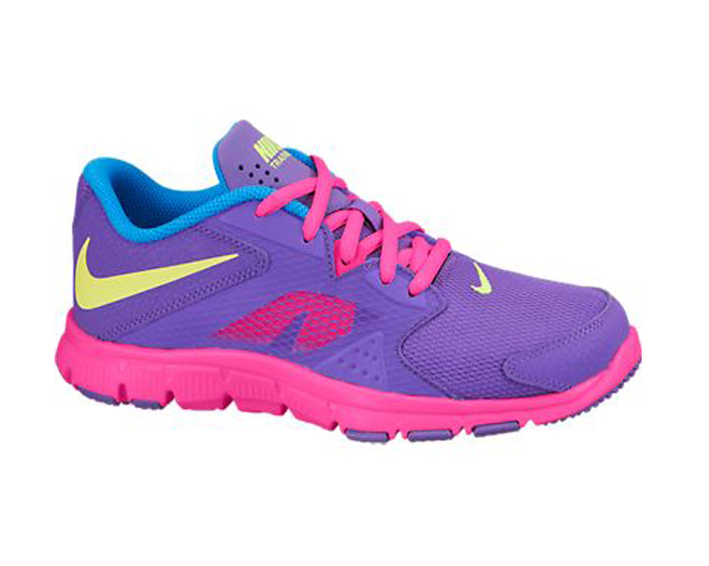 ee80f4254 Nike Girl s Flex Supreme TR 3 Athletic Shoes Grape Pink Volt - Shop now