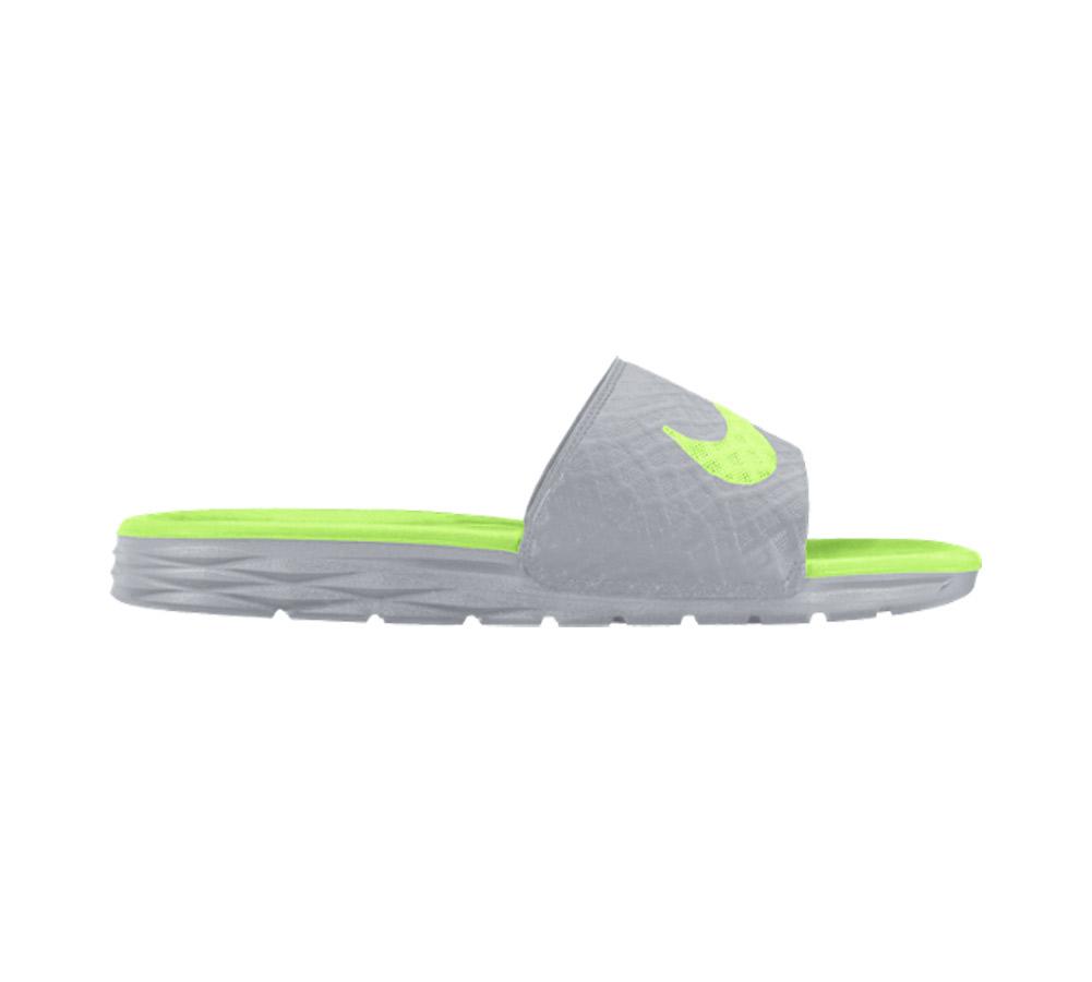 1d2958e570a Nike Women s Benassi Solarsoft Slide Grey Ghost Green - Shop now    Shoolu.com