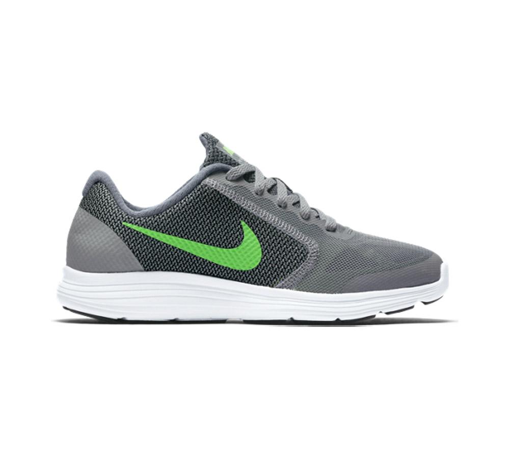 801b1fc1c41 Nike Boy s Revolution 3 Athletic Shoe Grey Green - Shop now   Shoolu.com