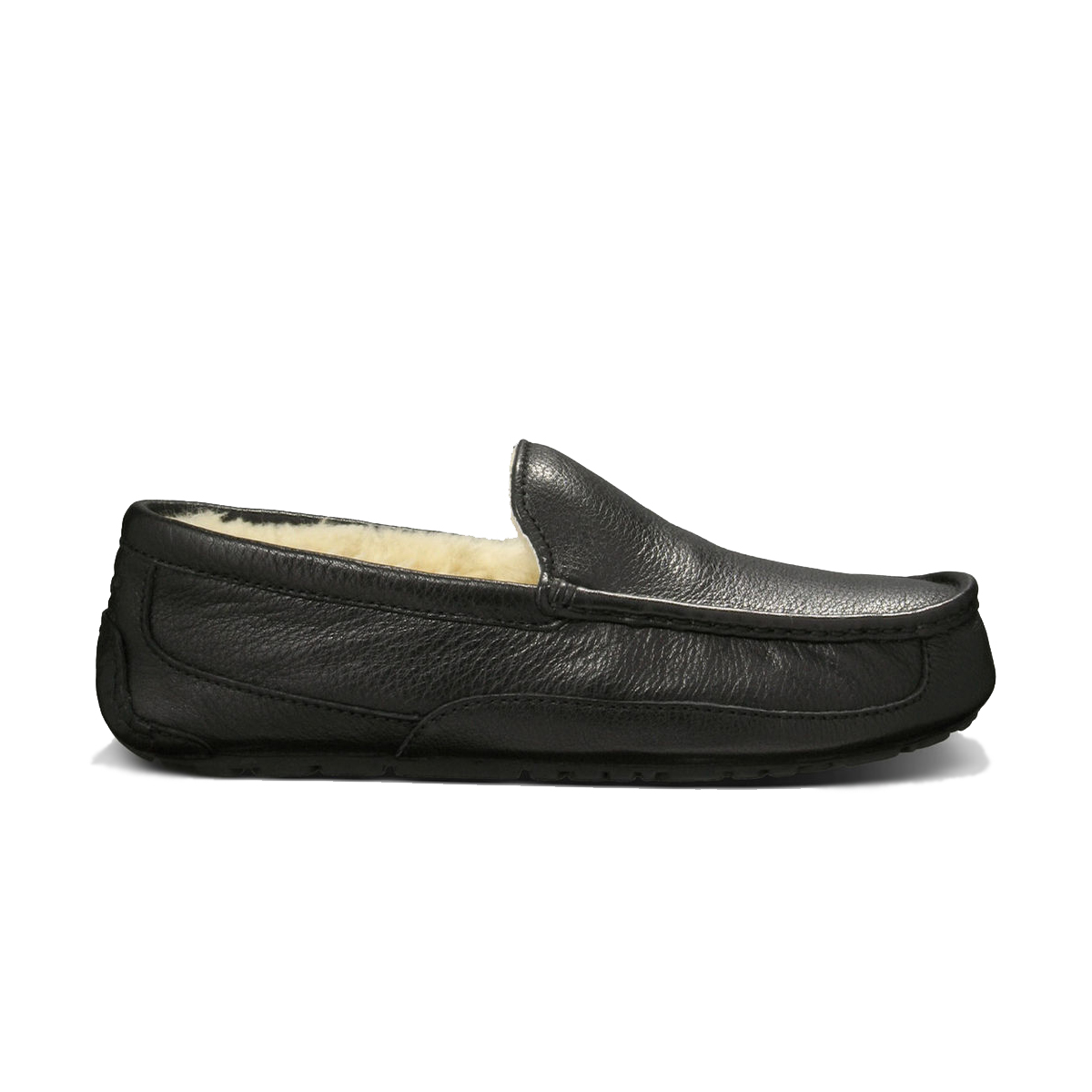 904706bdb8f UGG Ascot Slipper Black Leather Mens 5379B - Shop now   Shoolu.com