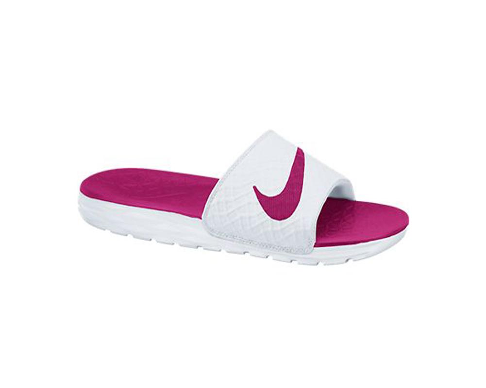 size 40 38469 ab437 Nike Women s Benassi Solarsoft Slide 2 Sandal White Fireberry - Shop now    Shoolu.