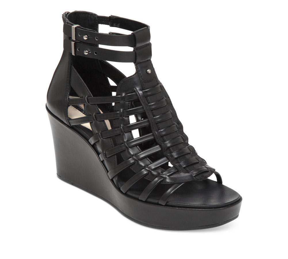 ce6986e0f1d5c4 BCBG Women s Chance Wedge Black Silky Leather - Shop now   Shoolu.com