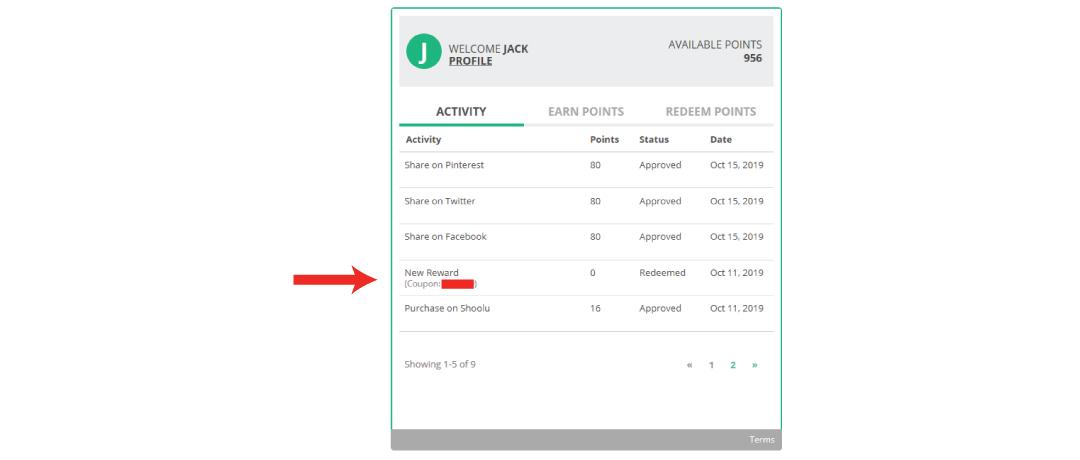 Find your Rewards under the Activity Tab