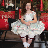Heirloom Christmas Noel Set: Dress + Pantaloons in Vintage Dotted Stripes Green/Red