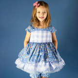 Heirloom Easter Attwell Set: Dress + Ruffled Bo Peep Shorts in Ditzy Blue Floral