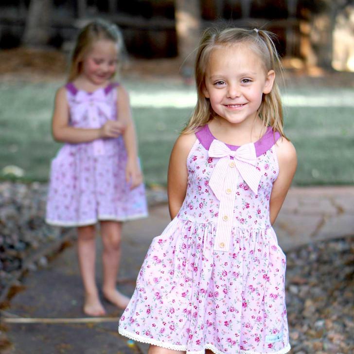 Molly: Round Collar Vintage Length Dress w/Shorts Set PINK