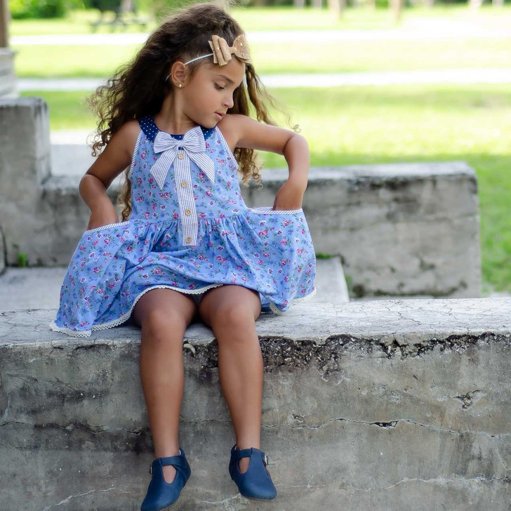 Molly: Round Collar Vintage Length Dress w/Shorts Set BLUE