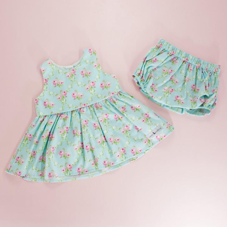 Birdie Tunic Playset (Tunic Dress + Matching Bloomers) in Rose Trellis Blue