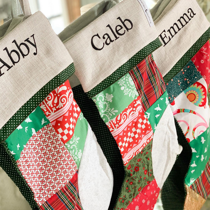 Patchwork Stocking with Name Embroidery