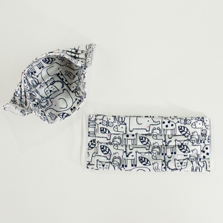 Adults and Kids Pleated Cotton Cloth Face Masks + Pocket in Stenciled Animals