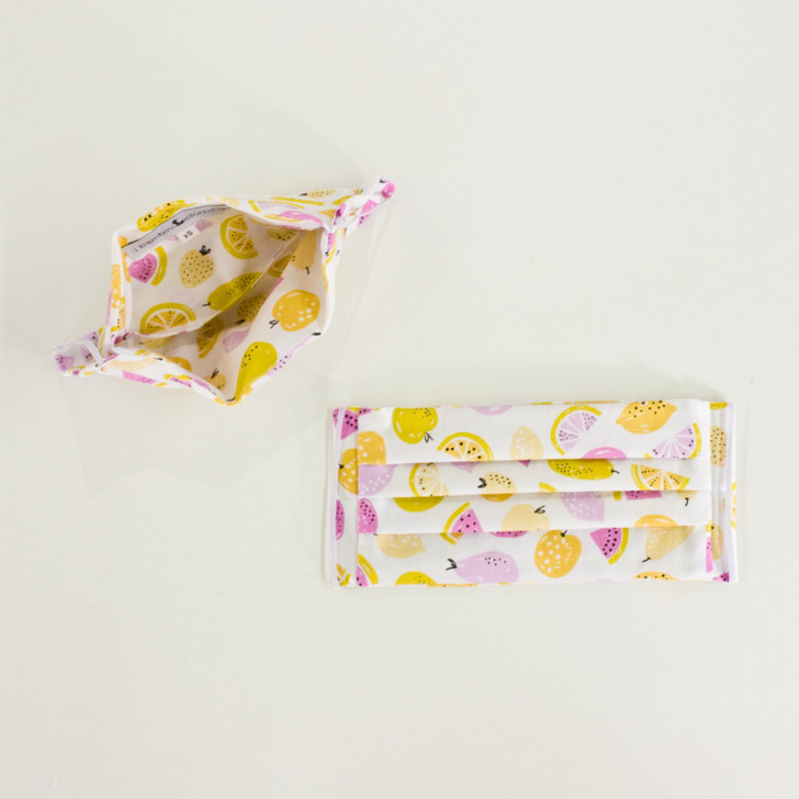 Adults and Kids Pleated Cotton Cloth Face Masks + Pocket in Lemony Tutti Fruitti