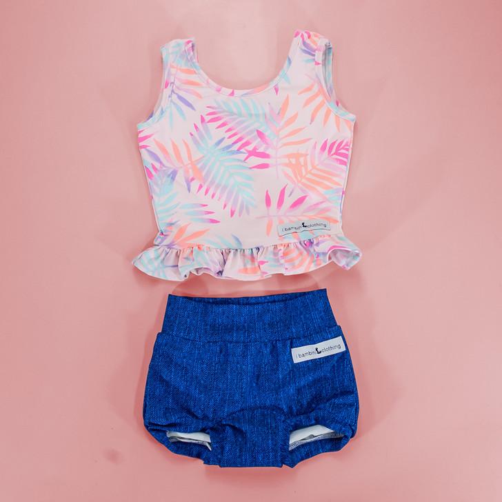 Swimwear - Bonnie Two Piece Swimsuit in Pastel Tropics/Denim