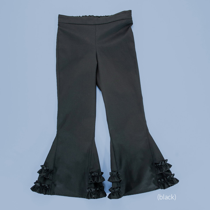 Uniform - Pants - Ruffled Bells - Adjustable Waist in Black