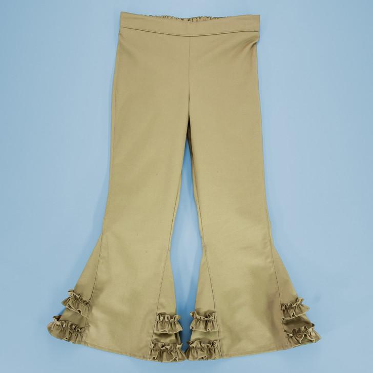 Uniform - Pants - Ruffled Bells - Adjustable Waist in Khaki