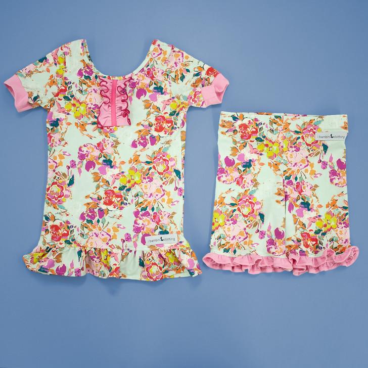Short Sleeve Shirt + Ruffled Shorts Sleep Set in Botanist's Poem