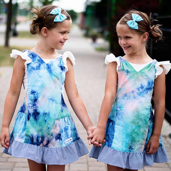 Macaron Pinafore in Blue Dream Tie Dye