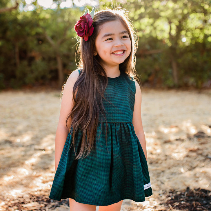 Birdie Tunic Playset (Tunic Dress + Matching Bloomers) in Hunter Green Houndstooth