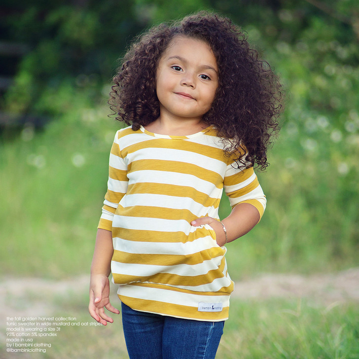 Tunic Sweater in Wide Mustard and Oat Stripes