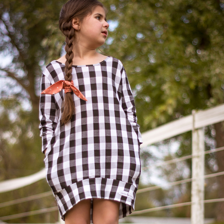 Tunic Sweater in Black and White Buffalo Stripes
