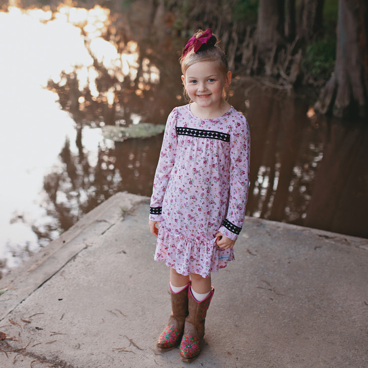 Country Chic Dress in Pink Ditzy Floral
