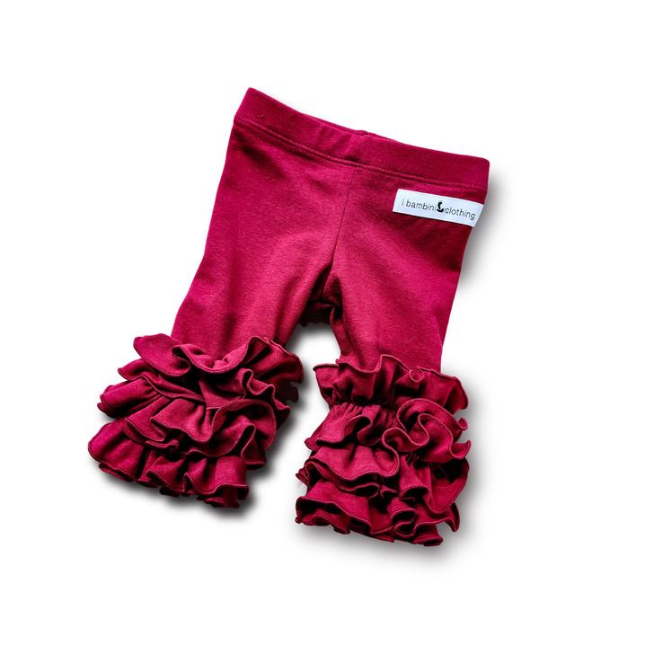 Pom Pom Leggings - Deep Red