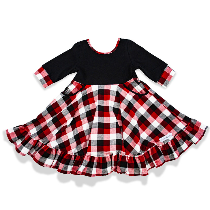 The Cady dress is perfect for little ladies. This adorable dress comes with 1/2 sleeves, full twirl in the skirt, buffalo plaid, ruffles, and POCKETS. This dress is warm and comfortable for all seasons!